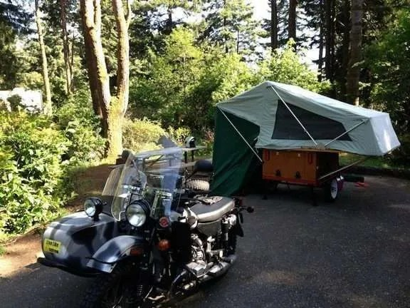 Motorcycle Compact Camping Trailer Explorer Box and MOAB Folding Tent