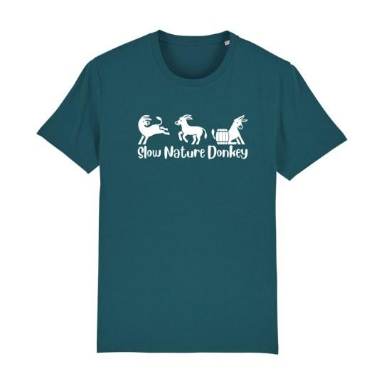 """T-shirt classica uomo """"Slow Nature"""" petrolio"""