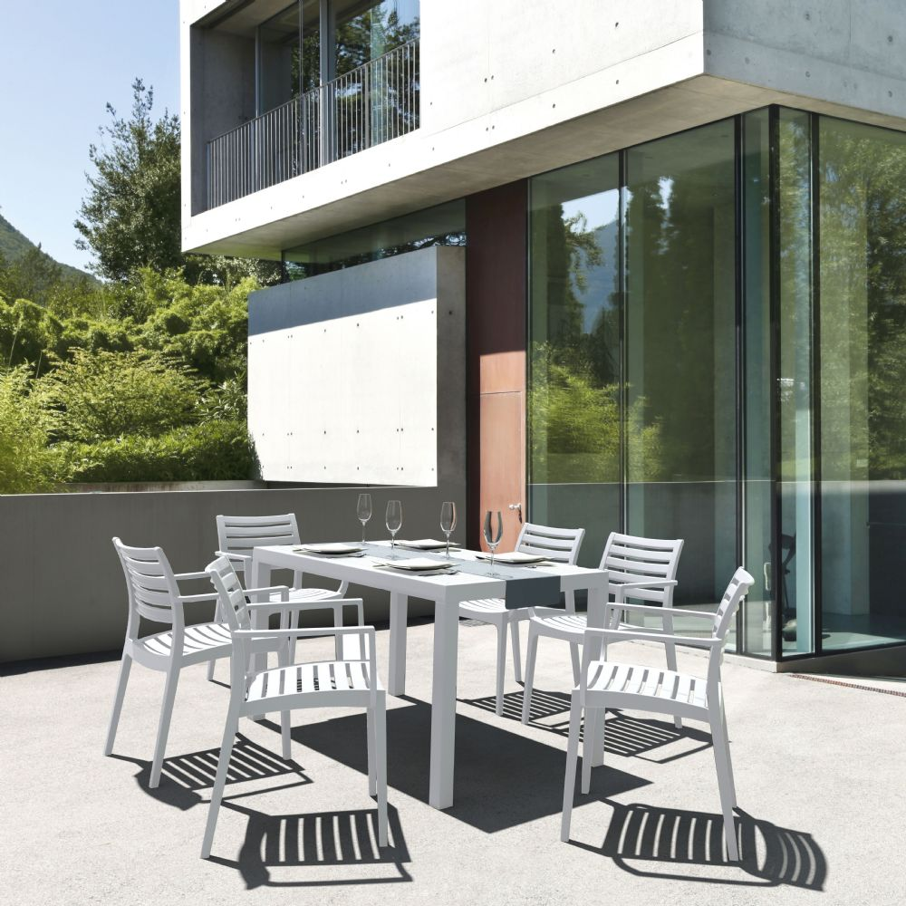 artemis resin rectangle outdoor dining set 7 piece with arm chairs white isp1862s whi by siesta compamia