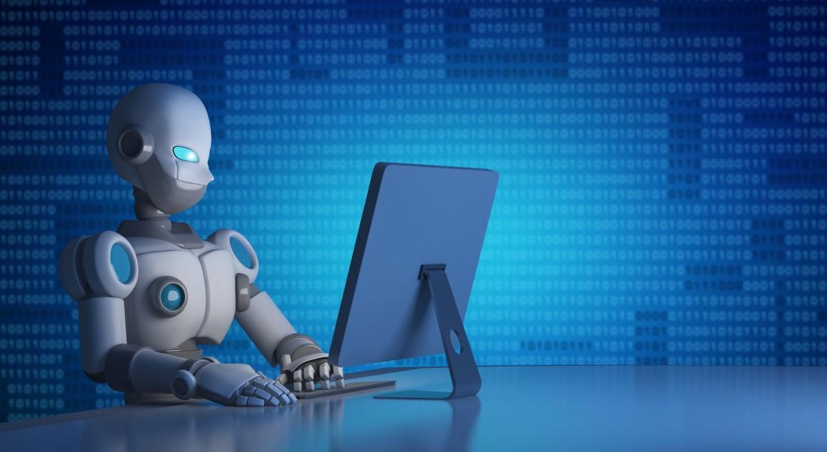 A robot using a computer