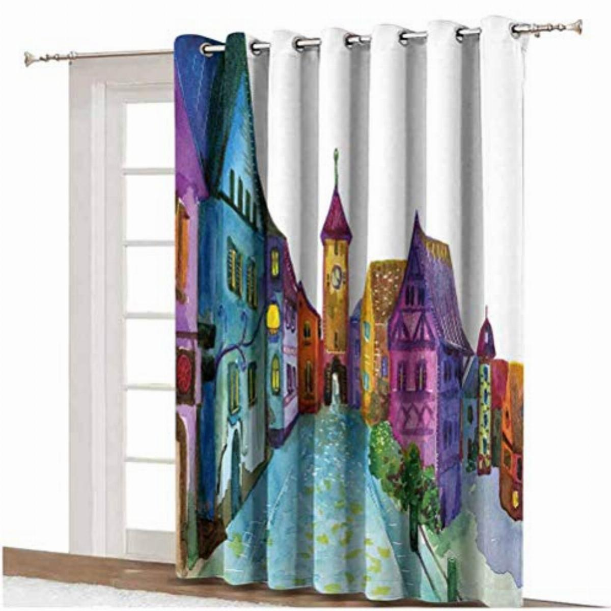 cartoon decor blackout patio door curtains european scenery with pastel colors and road aged old architecture image print grommets panels printed
