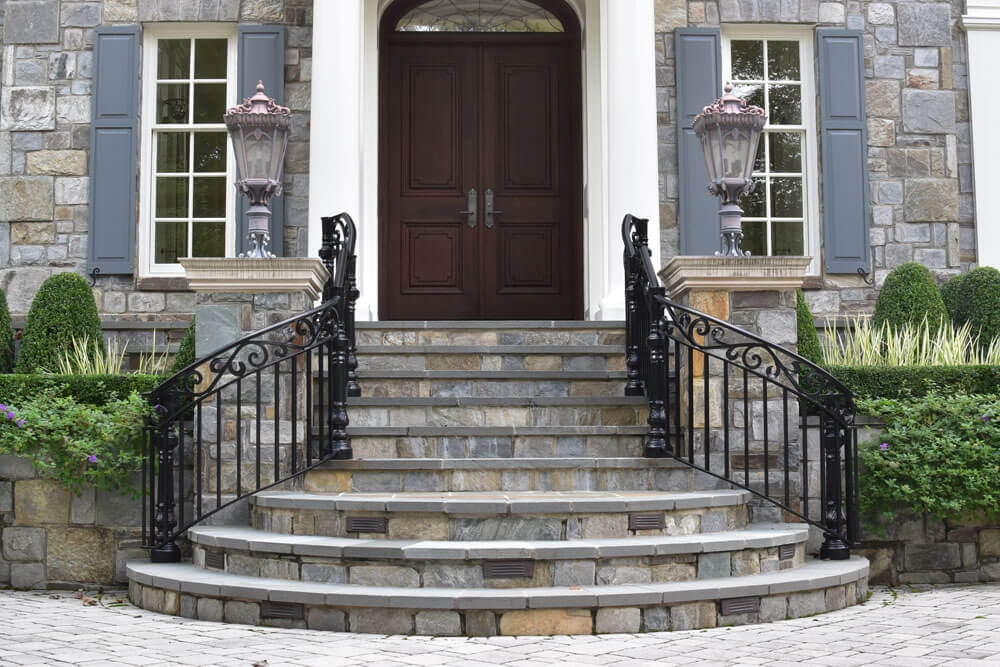 Exterior Railings Compass Iron Works | Outside Entrance Stairs Design | Landscaping | Front Yard Stair | Cool | Upstairs | Simple