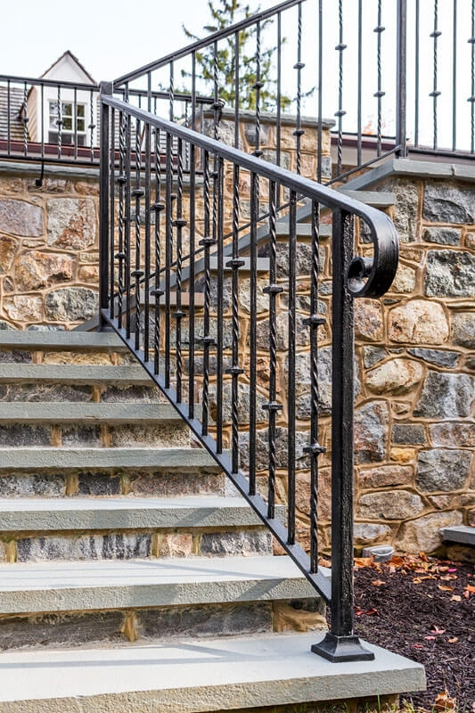 Exterior Railings Compass Iron Works | Iron Handrails For Outside Steps | Railing Systems | Front Porch | Aluminum Railing | Deck Railing