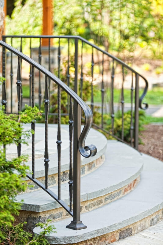 Exterior Railings Compass Iron Works   Wrought Iron Outdoor Handrails   Curved   Design Boundary   Color   Cottage Style   Drawing