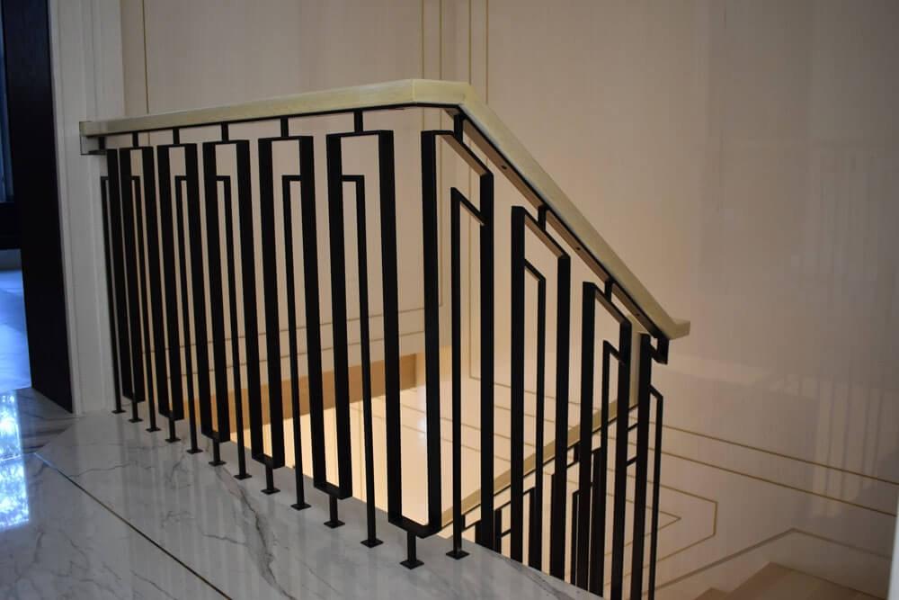 Interior Railings Compass Iron Works   Modern Stair Railings Interior   Minimalist   Luxury   Straight   Wall Mounted   Brushed Nickel
