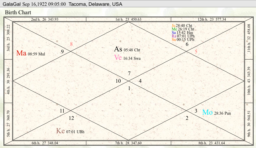 A sample of a Vedic Astrology chart