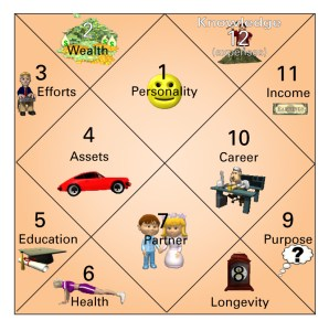 The 12 houses in a Jyotish chart