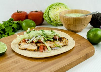 Chipotle Chicken Tacos with Avocado Cream