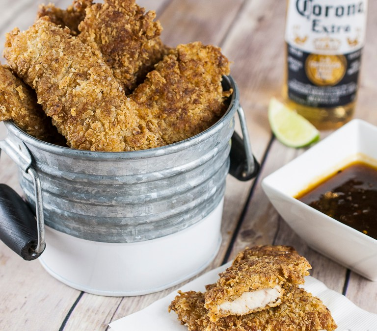 Crispy Chicken Fingers with Apricot Dipping Sauce
