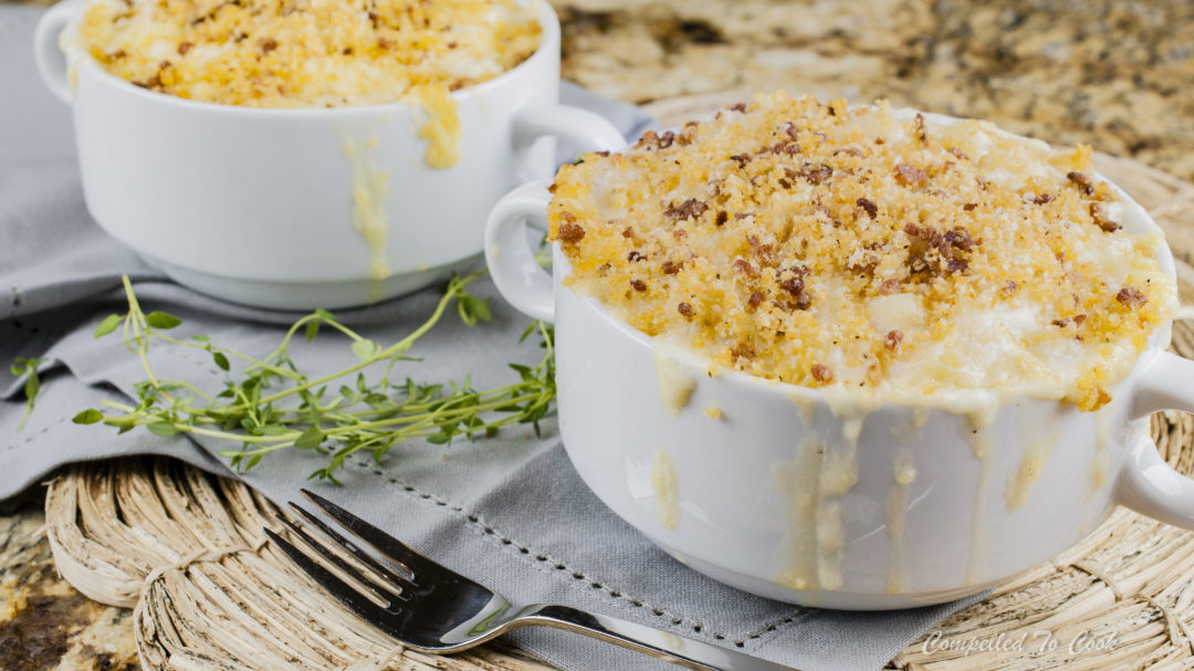 Smoked Gouda Mac and Cheese is creamy, loaded with cheese and topped with crispy bacon crumbs.