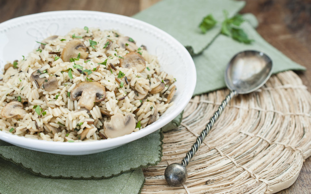 Mushroom Herb Rice is a lovely side dish with golden fried mushrooms, broth and fresh herbs.