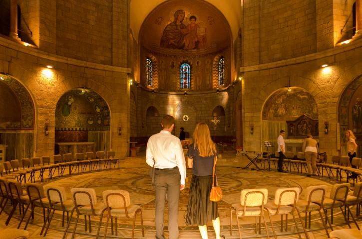 Interior de Dormition Abbey o Abadía de Hagia Maria, Ciudad Vieja de Jerusalén.