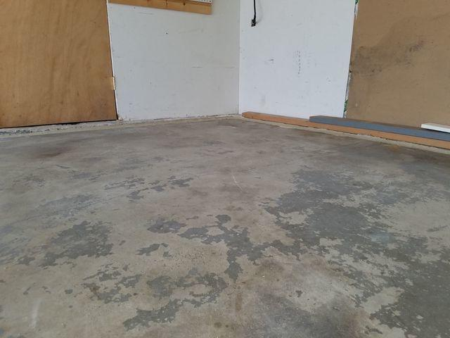 sunken corner of garage after