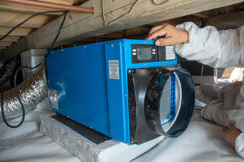 crawl space dehumidifier installation prevent mold and rotten foundation