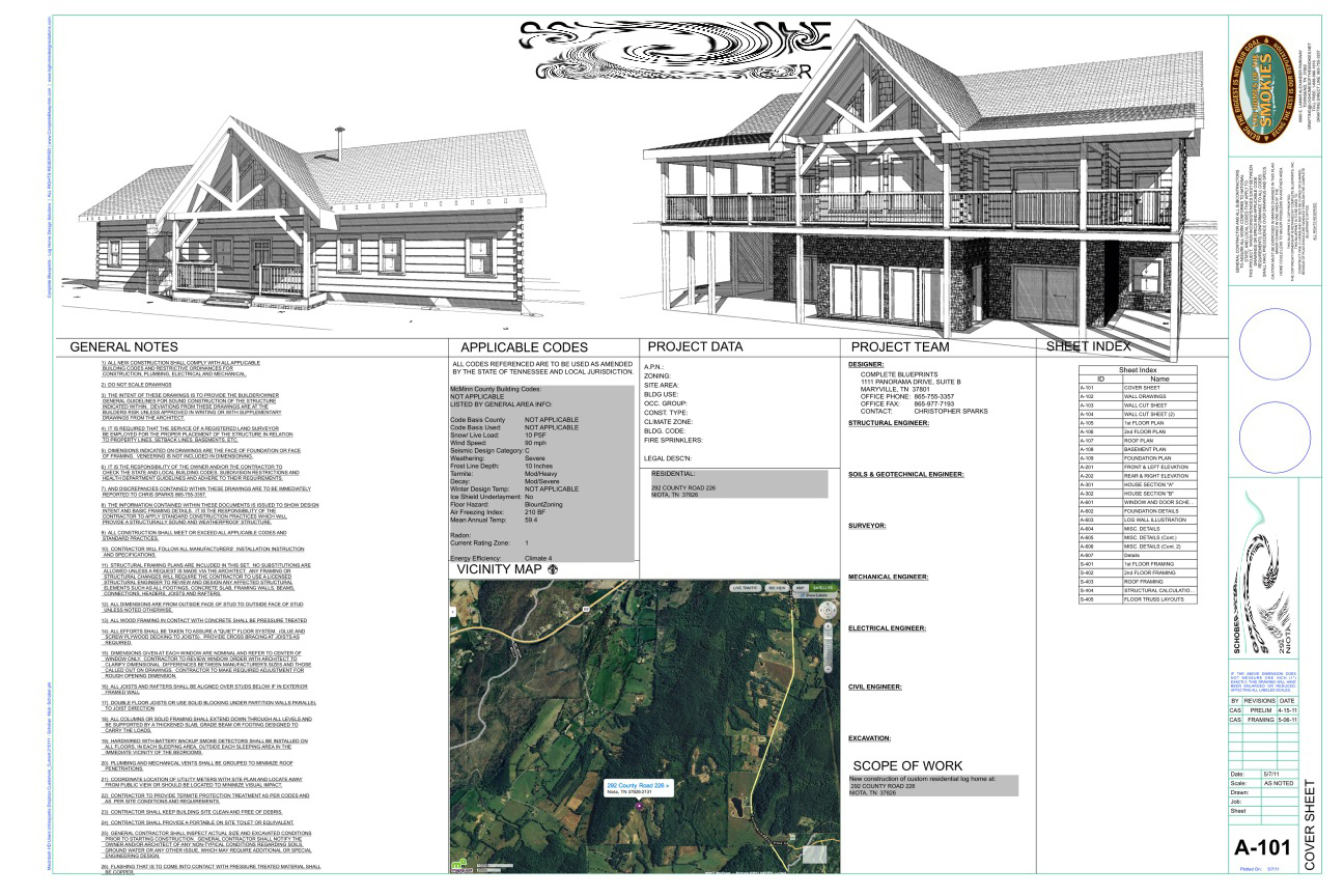 What is Included in House Plans   Complete Blueprints Cover Sheet