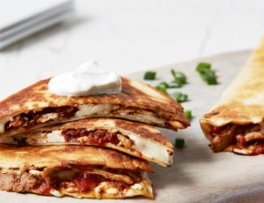 Stewed Chicken, Refried Beans and Oaxaca Cheese Quesadillas