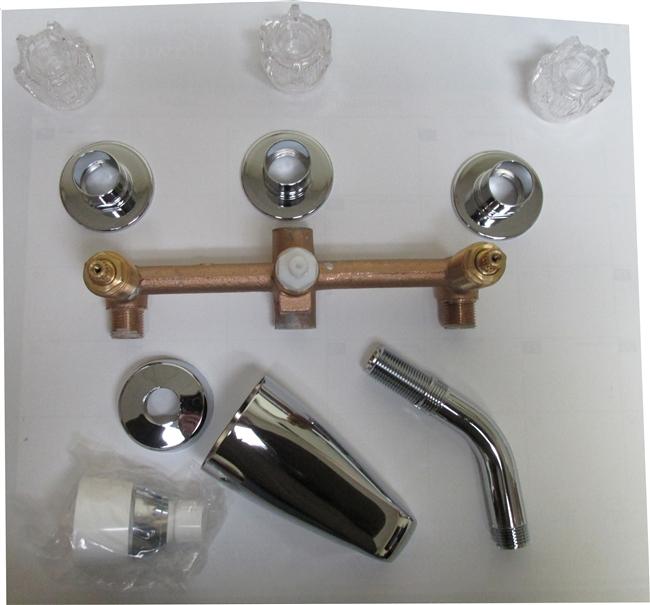3 valve tub shower faucet