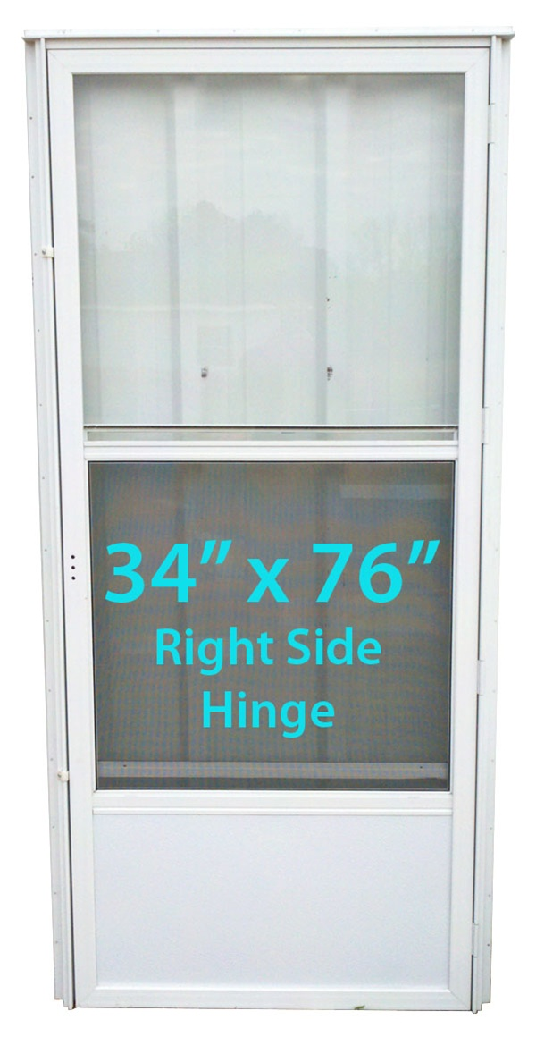 Mobile Home Standard Storm Door 34x76 Rh White With Screen