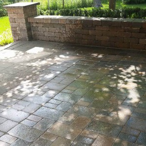 paver patio and sitting wall