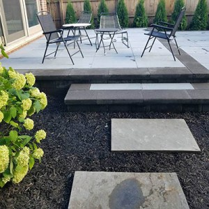 brick paver patio and stepping stones