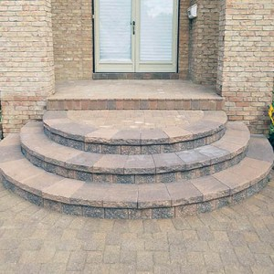 brick paver steps with porch