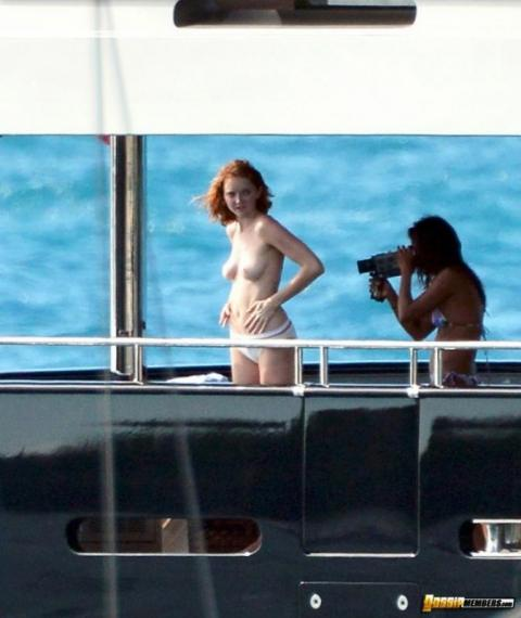 Lily Cole Yacht Bar Topless Showing Tits Gorgeous Beautiful