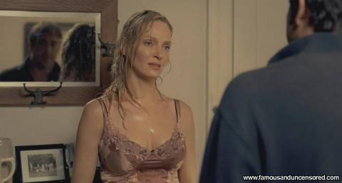 Uma Thurman Nude Sexy Scene Wet Shirt Topless Bed Bra Car Hd