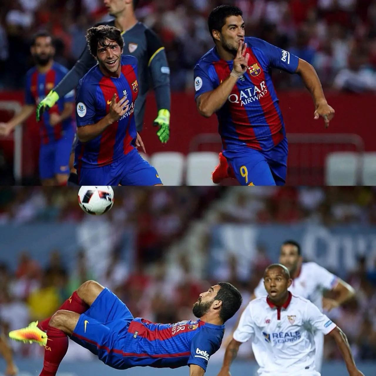 Suarez, Munir Score As Barca Beat Sevilla In Spanish Super Cup 1st Leg