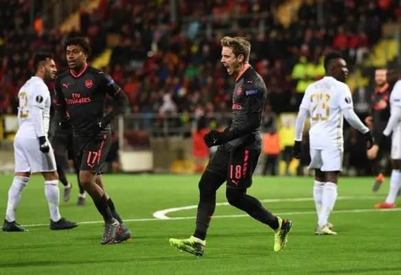 Europa: Iwobi, Gero In Action As Arsenal Outclass Oestersunds; Batshuayi, Balotelli Score