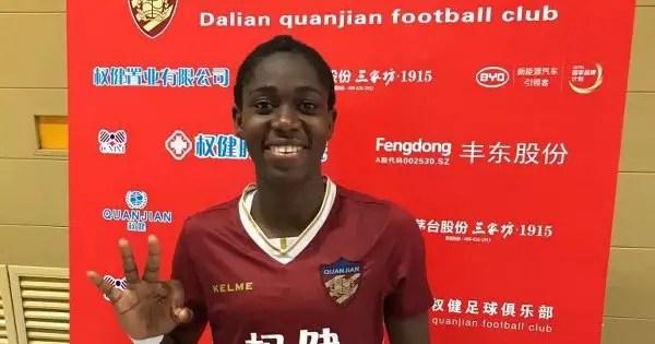 Oshoala Heads Back To China, Denies Dalian Quanjian Exit Rumours