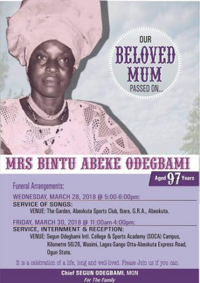 Odegbami: Tribute To Our Mother