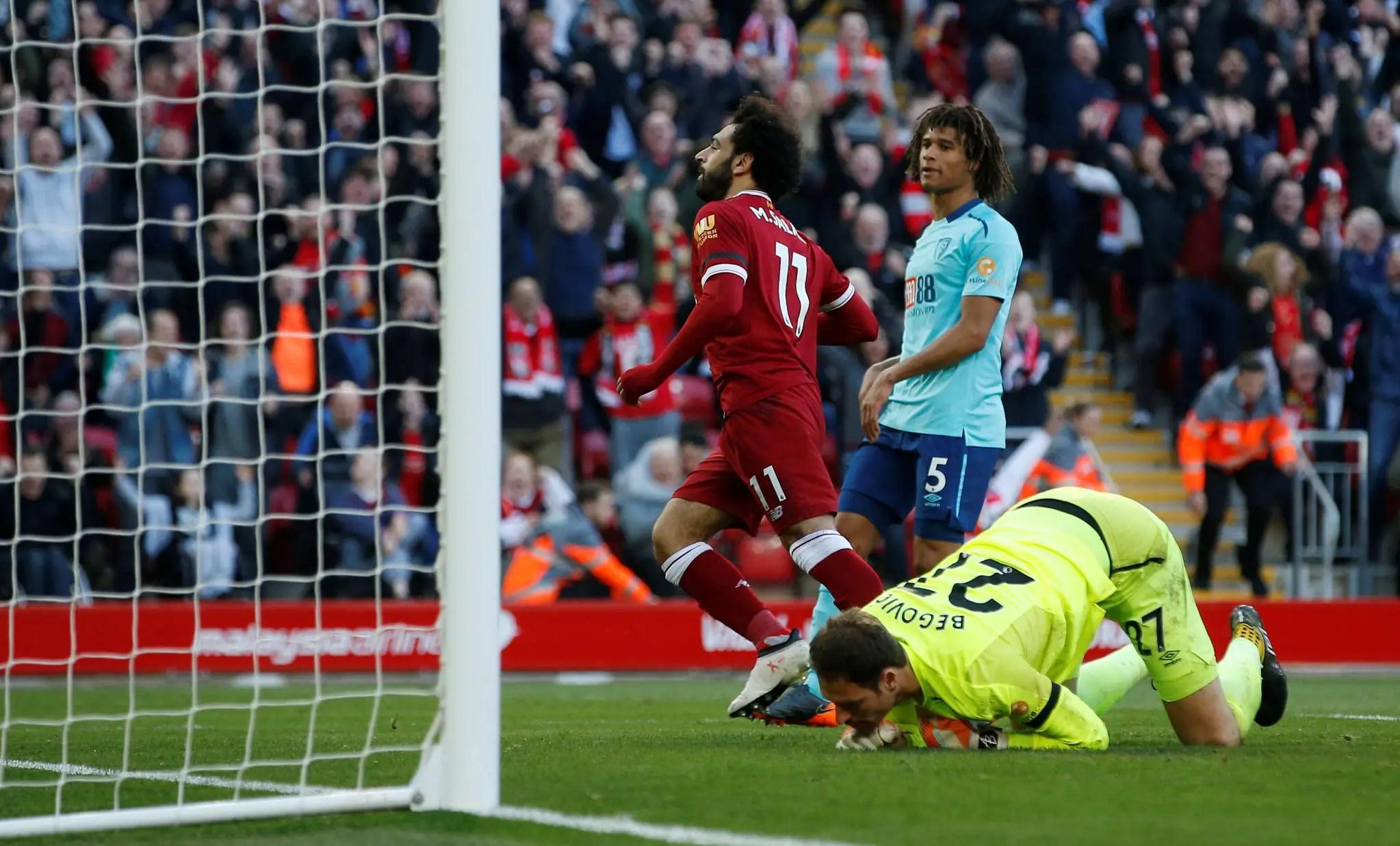 Salah, Mane Score Historic Goals As Liverpool Ease Past Bournemouth