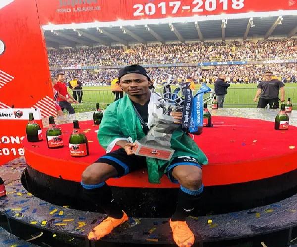 Nigerian Forward Dennis Celebrates Belgian League Title With Club Brugge