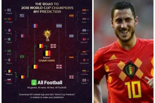 Hazard Tips Nigeria, Argentina To Advance, Belgium To Win World Cup!