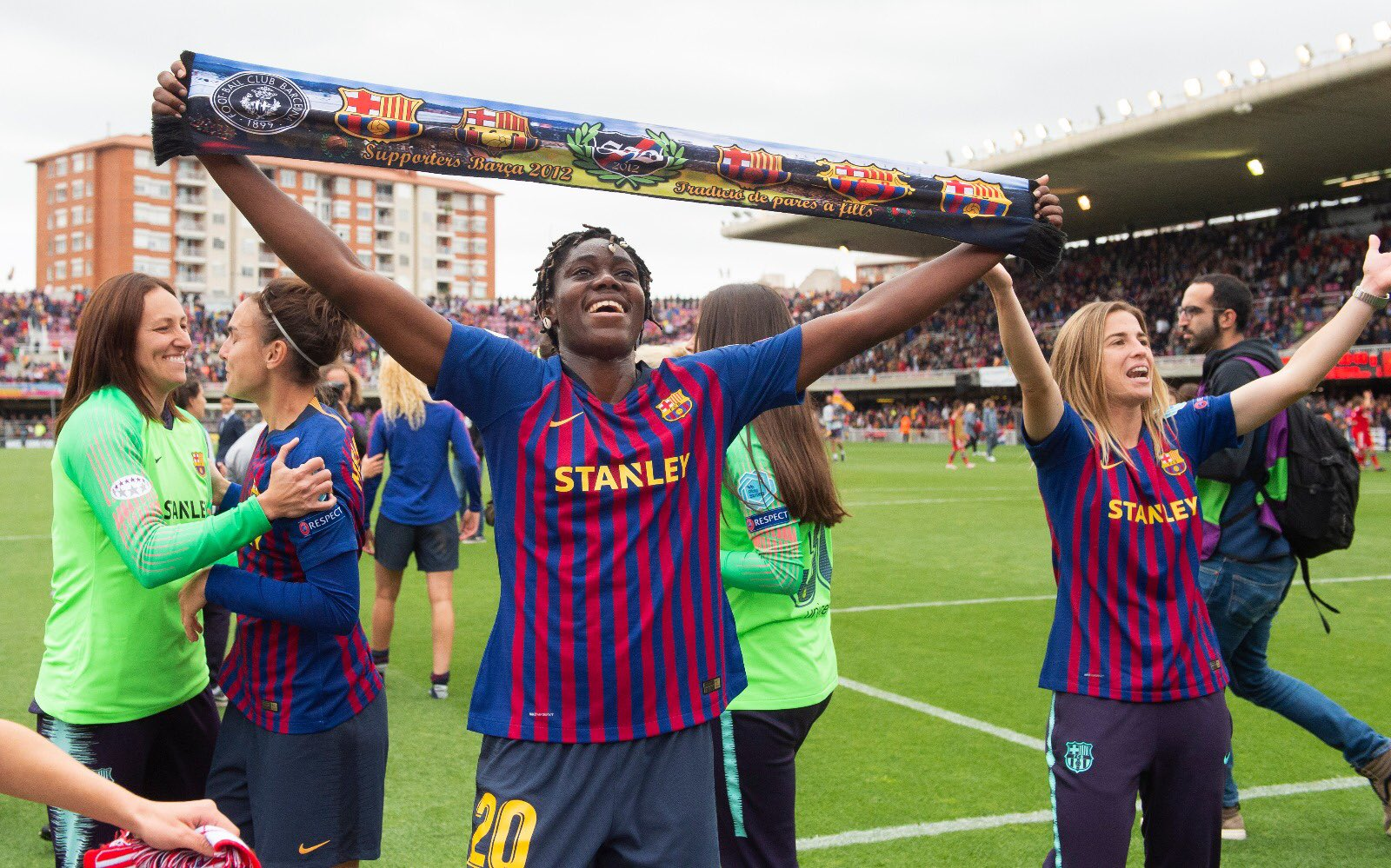 Oshoala Celebrates Barcelona Ladies' Women's UCL Final Qualification