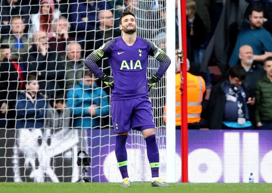 Lloris Holds Hands Up After Reds Error