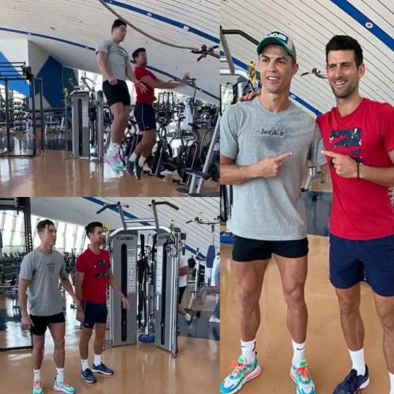 Ronaldo Teaches Tennis Star Djokovic How to Jump, Score Headed Goals