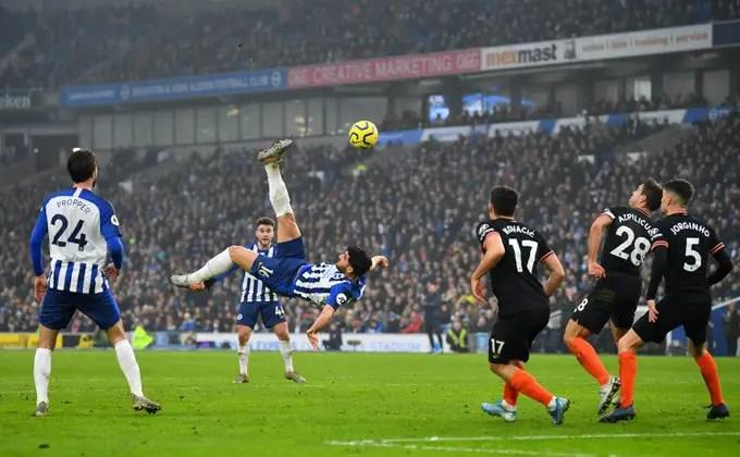 EPL: Jahanbakhsh Stunning Overhead Kick Earn Brighton Draw Vs Chelsea