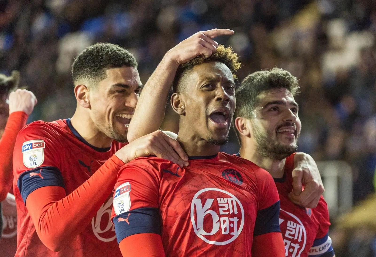 Balogun Celebrates Wigan's Win At Reading