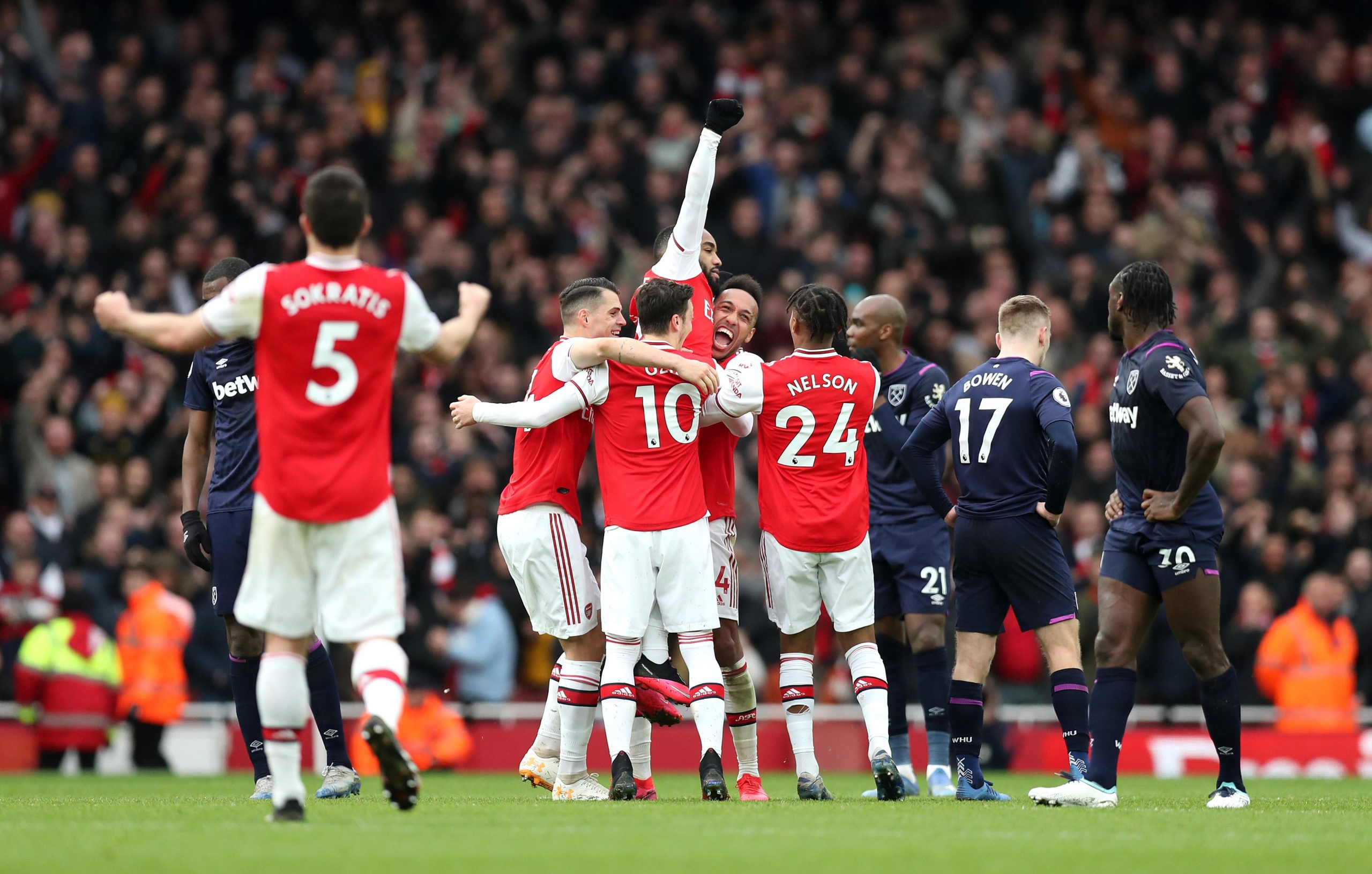 EPL: Lacazette On Target As Arsenal Seal Narrow West Ham Win