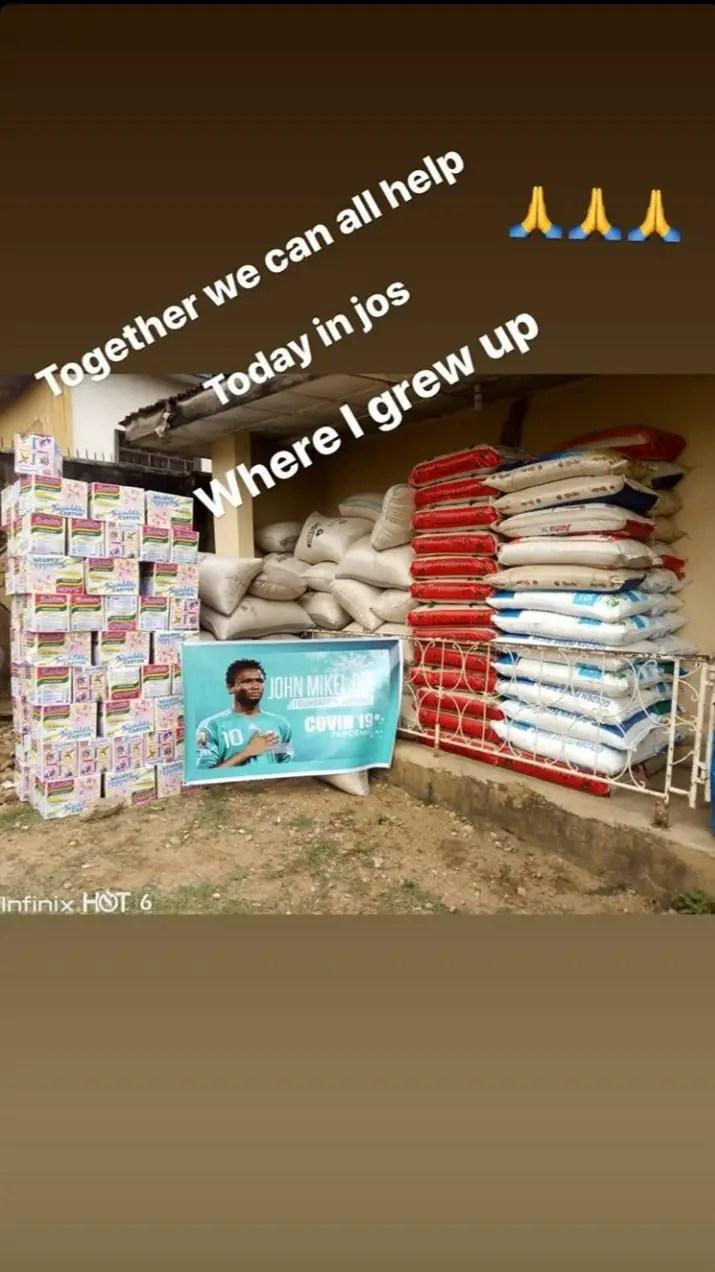 Coronavirus: Mikel  Donates Food Items To The Needy In Jos