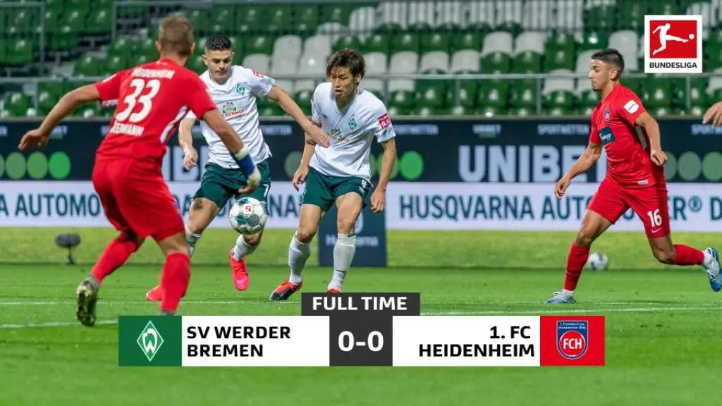 Heidenheim Hold Bremen In Bundesliga Relegation Playoff 1st Leg Clash