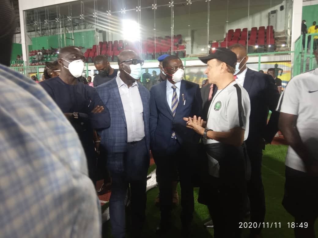 Edo Governor Obaseki Watches Super Eagles Training