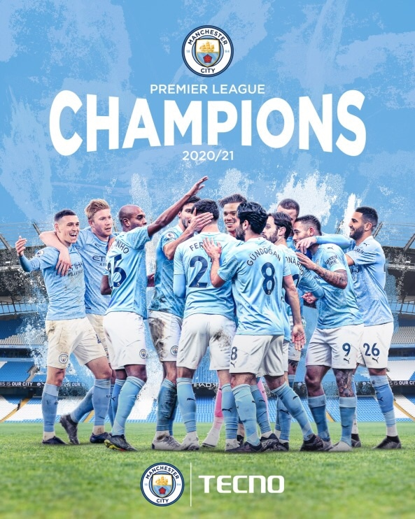 Tecno Applauds English Premier League Champions – Manchester City