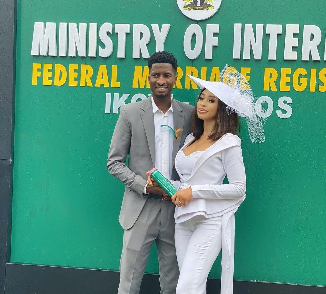 It's Official: Super Eagles Forward, Olayinka Ties Knot With Nollywood Actress, Yetunde