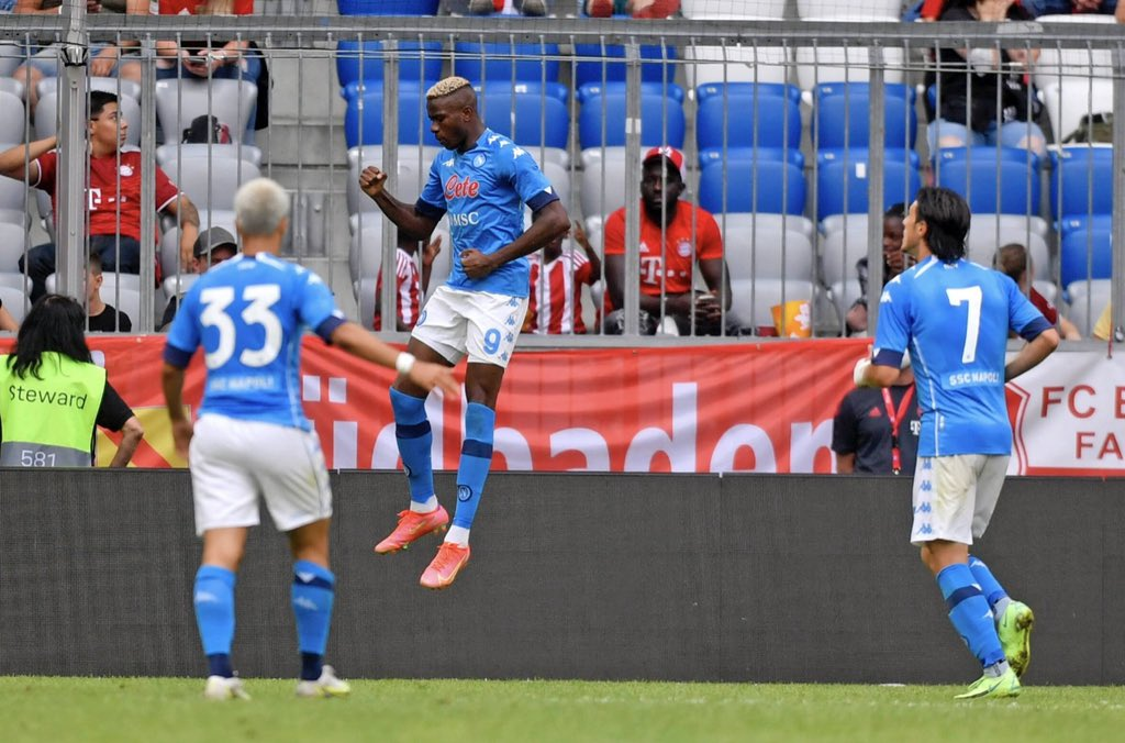 Osimhen Reacts After Netting Brace For Napoli Against Bayern Munich
