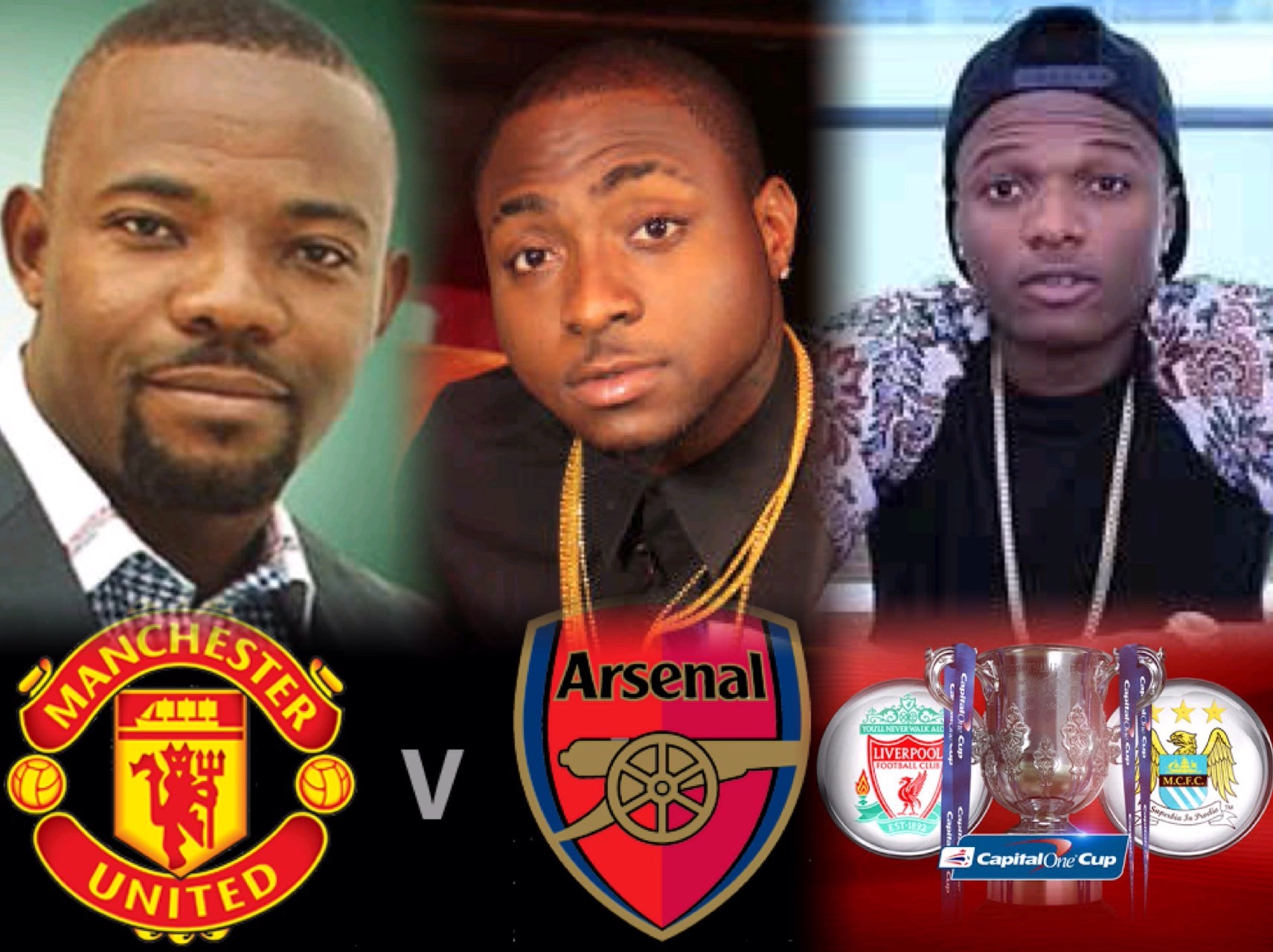Okey Bakassi Backs Arsenal Against United, Davido In Dilemma; Wizkid Roots For Liverpool