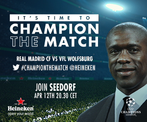 ChampionTheMatch: Join Clarence Seedorf Live As Real Madrid Hosts Wolfsburg‎
