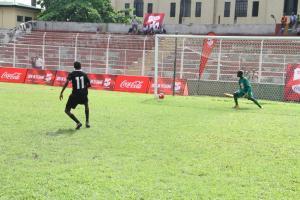 Asegun Boys score during the penalties
