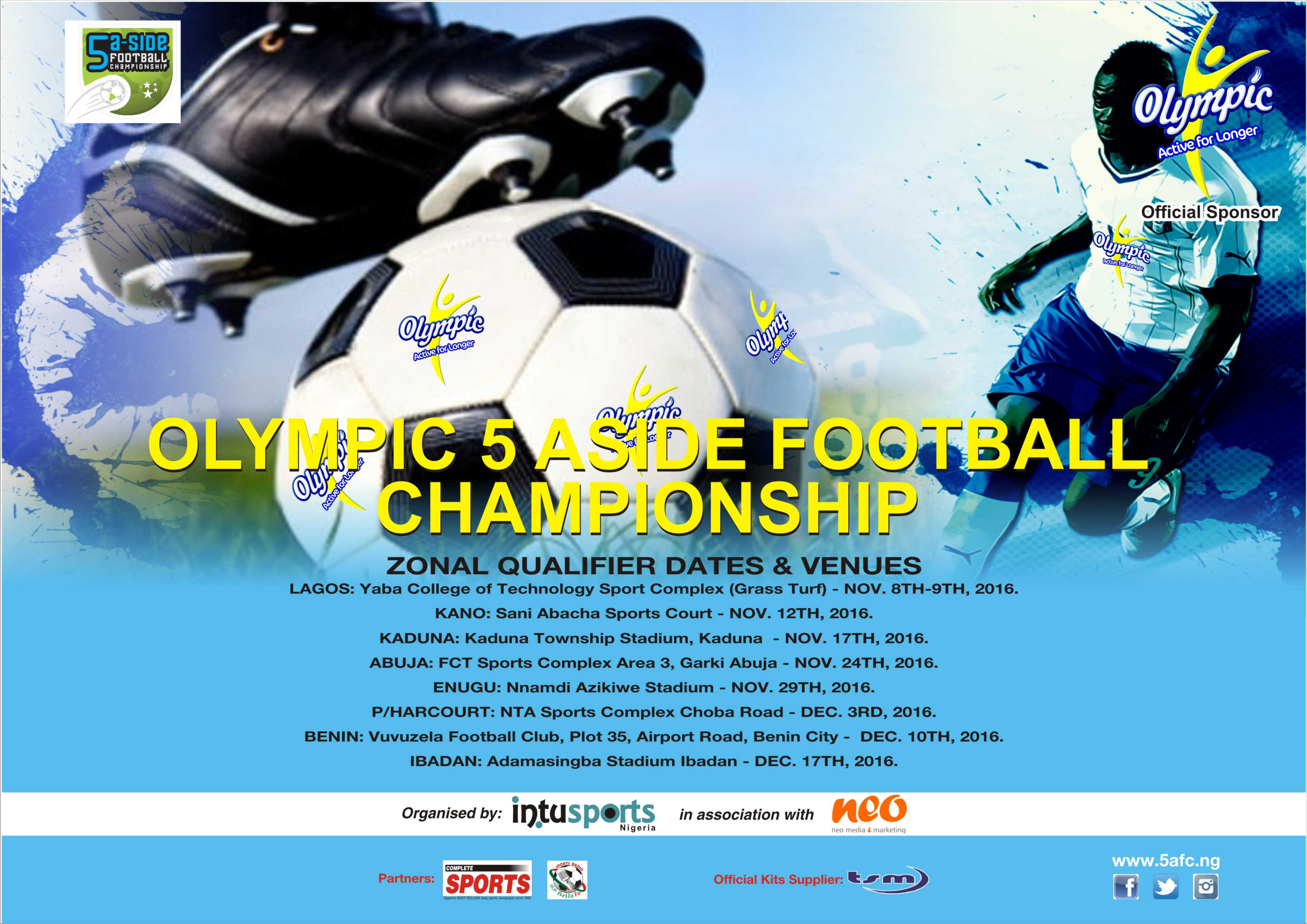 2016 Olympic 5-A-Side Football Championship Gets Dates, Venues